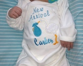 Applique Stork Baby Personalized Infant Layette Gown