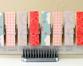 Set of 8 Washi Tape Covered Clothespins Chunky Small Aqua Pink Gray