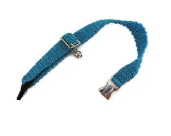 Cat collar-collar cat-adjustable collar-custom collar-crochet cat collar-cat accessories-.Adjustable cat collar blue with Bell