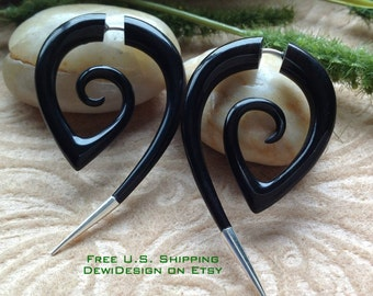 "Fake Gauge Earrings, ""The Girl With The Dragon Tattoo"", Replica, Horn, Natural, Handcrafted, Tribal"