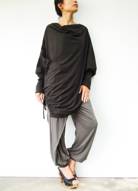 NO.59 Charcoal Cotton Jersey  Batwing Tunic, Loose Asymmetrical  Sweater, Women's Top