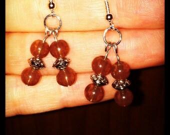 Amber double drop beaded earring