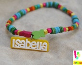 Personalized Name Plate Colorful Wooden Beads Necklace  - (Made to order)
