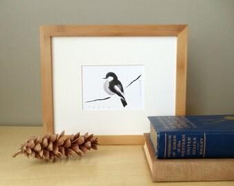 framed original ink painting // solid bamboo frame