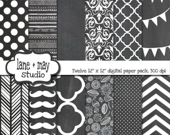 digital scrapbook papers - gray and white chalkboard patterns - INSTANT DOWNLOAD