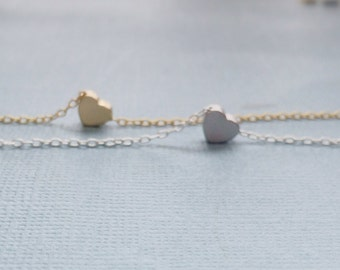 Tiny Heart Necklace, silver plated, rhodium plated, gold plated, simple everyday, bridal, valentines, anniversary, gift
