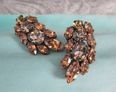 Large Austrian Rhinestone Clipback Earrings Smokey Topaz and Grey