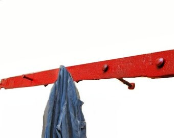 Industrial Coat Hook / Rack, Iron, Salvaged Vintage Home Wall Decor, Rustic Red