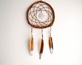 Dream Catcher - Tree of Life - With White Tree Amulet and Painted Gold-White Feathers - Nursery Home Decor, Mobile
