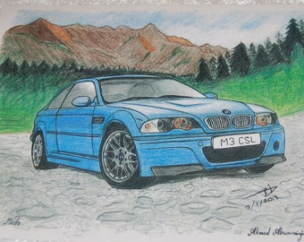 "BMW E-46 Drawing  - 8 1/2"" x 10"""