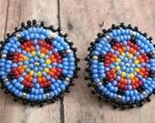 Native American Beaded Blue Southwest Pattern Earrings