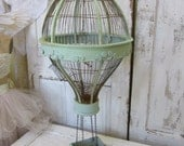 Reserved item for C, do not purchase  Hot air balloon Bird cage hand painted pale blue green, heavily distressed and rusted anita spero