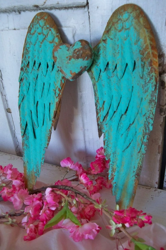Turquoise Metal Wall Wings With Heart Deep Aqua Rusty