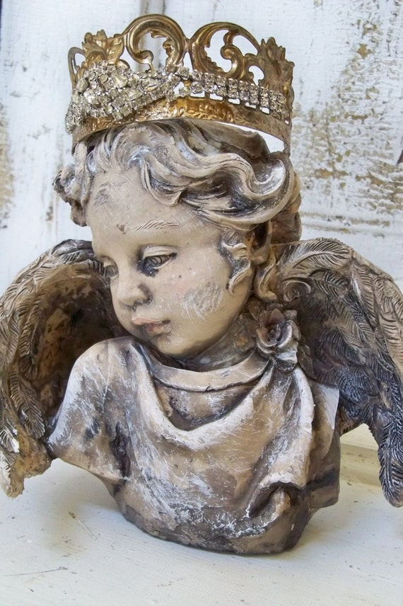 Cherub Angel Statue Head Fragment With Hand Made Crown