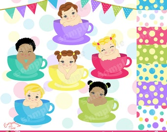 Teacup Babies Clipart Set