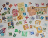 Vintage stamps, 85 vintage cancelled stamps from around the World, a vintage art supply