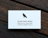 """100 Personalized Letterpress Business Cards - """"Crow"""""""