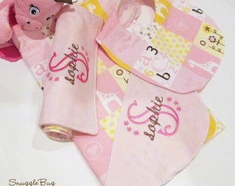 Newborn Girl Personalized 3 pc gift set with blanket, burp cloth, and bib