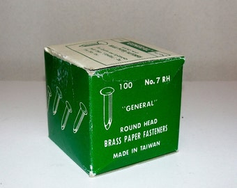 Vintage Box of Brass Fasteners Box of 95
