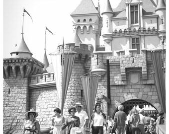 Vintage Disney Late 50s or early 60s crowd Sleeping Beautys Castle 8x10 Print Disneyland Decor