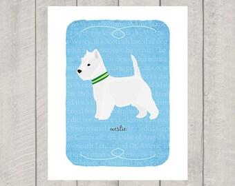 Westie Breed Custom Dog Art - West Highland Terrier