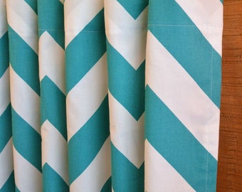 SUMMER SALE! Curtains, Designer Curtain Panels 24W or 50W x 63, 84, 90, 96 or 108L Zippy (large chevron) Turquoise White shown