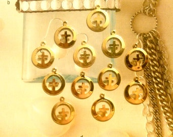 12 Goldplated Cross in a Circle Charms