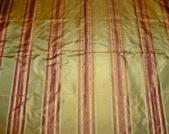 PINDLER PIEDMONTE Stripes SILK Taffeta Fabric Remnant Gold Cinnabar