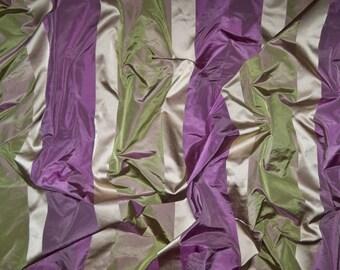KOPLAVITCH BEAUVILLE SILK Taffeta Satin Stripes Fabric 10 yards Purple Green