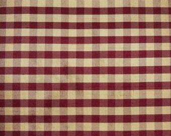 TAPESTRIA FRENCH COUNTRY Gingham Check Silk Fabric 10 yards Garnet Cream