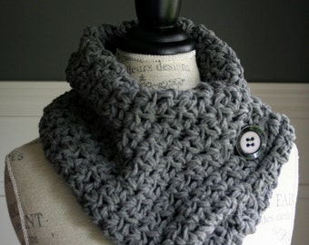 GREY Cowl Neck Scarf with black button, crocheted