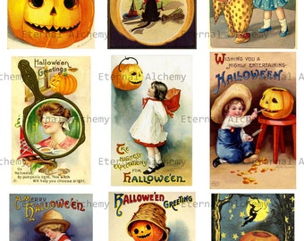 Set One - 3 Vintage Halloween Postcard Collage Sheets - approx. 2.5 x 3.5 inch images (ACEO/ATC size) - Instant download