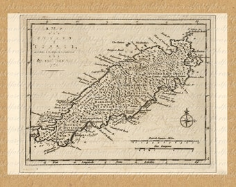 Map of Tobago from the 1700s 241 Digital Download Trinidad and Tobago Caribbean Island Tropics Vacation Voyage