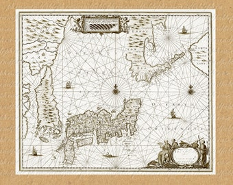Map Of Japan From The 1600s 297 Asia Far East Ocean Tokyo Island World Sailing Digital Last Minute Gift