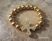 Gold Sideways Cross Bracelet