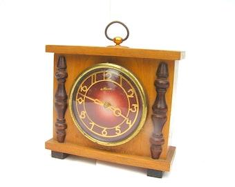Soviet vintage clock Mechanical clock Wind up Soviet clock Russian table clock Majak Retro mechanical clock Wood table clock