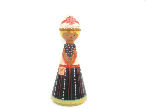 Olympic games Moscow Soviet wooden wall doll 80s made in USSR Salvo Estonia