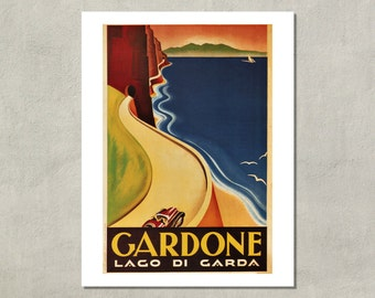 Lake Garda, 1933 - Italian Tourism Poster - 8.5x11 Travel Print - also available in 13x19 - see listing details