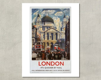 London It's Quicker By Rail, LNER Railway Travel Poster 1939 - 8.5x11 Travel Print - also available in 13x19 - see listing details