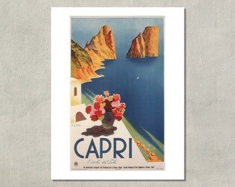 Capri - l'isola del Sole, Mid Century Italian Tourism Poster - 8.5x11 Poster Print - also available in 13x19 - see listing details