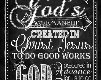 Scripture Art - Ephesians 2:10 Chalkboard