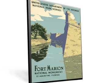 National Park - Fort Marion Vintage WPA Poster on 9x12 PopMount Ready to Hang FREE Shipping (Contl US)