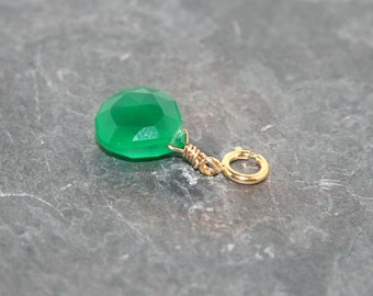Emerald green chalcedony briolette add a charm on 14k gold-filled clasp