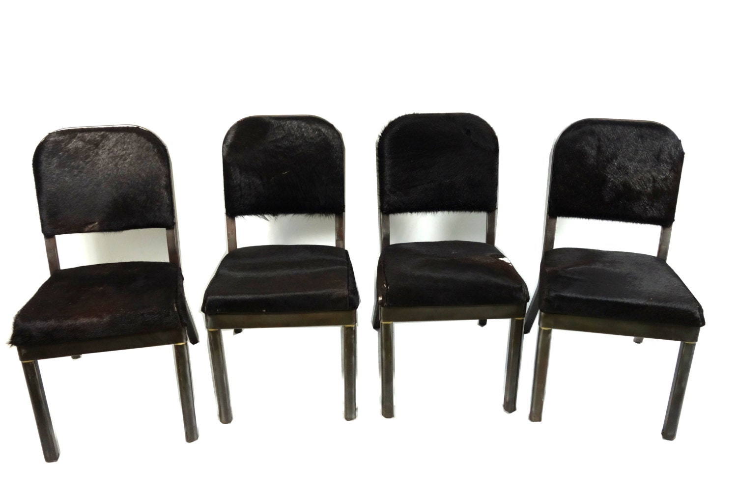 Set of Four Steel Framed & Cowhide Dining Chairs by