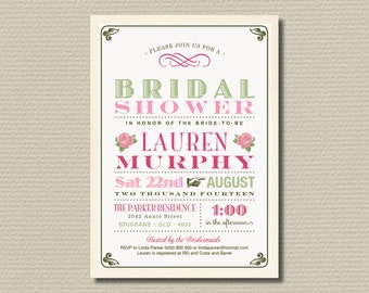 Printable Bridal Shower Invitation - Vintage Pink & Green (BR141)