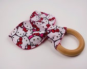 Hello Kitty, crinkle bunny ear wooden teether ring.