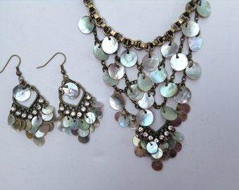 Bib Statement Necklace-Bib Necklace-Shell Necklace-Statement Necklace-One of a Kind-Hand Made-Designs by Stalinda
