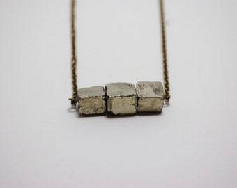 pyrite cube statement necklace