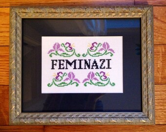 Funny counted cross stitch pattern: feminazi PDF instant download