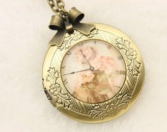 Necklace locket clock